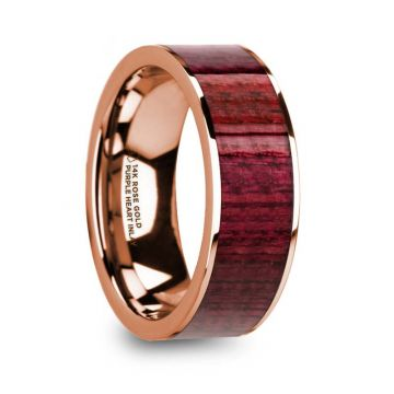 Thorsten PAVLOS Purpleheart Inlaid 14k Rose Gold Men's Wedding Band with Polished Finish - 8mm