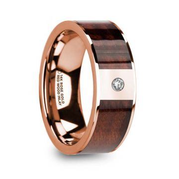 Thorsten PETROS Red Wood Inlaid 14k Rose Gold Men's Wedding Ring with Diamond Center & Polished Center - 8mm