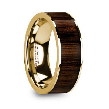 Thorsten PELAGIA Men's Polished 14k Yellow Gold & Black Walnut Inlay Wedding Ring - 8mm