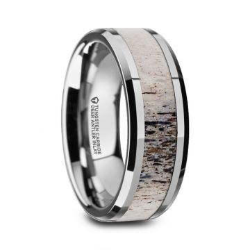 Thorsten BUCK Polished Beveled Tungsten Carbide Men's Wedding Band with Ombre Deer Antler Inlay - 8mm
