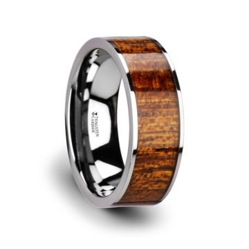 Thorsten BOLO Flat Tungsten Carbide Band with Exotic Mahogany Hard Wood Inlay and Polished Edges - 8mm