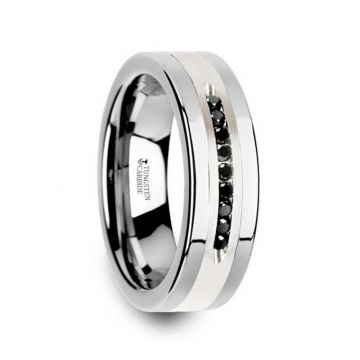 Thorsten BLACKSTONE Flat Tungsten Wedding Band with Brushed Silver Inlay Center and 9 Channel Set Black Diamonds - 8mm