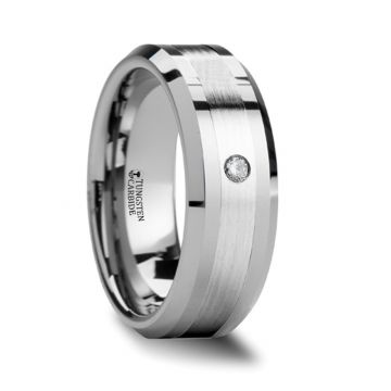 Thorsten LAURENT Beveled Tungsten Ring with Platinum Inlaid and Diamond - 8mm