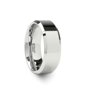 Thorsten LINCOLN White Tungsten Carbide Ring with Beveled Edges - 4mm - 12mm
