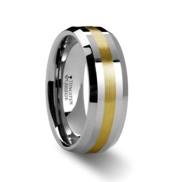 Thorsten LEGIONAIRE Gold Inlaid Beveled Tungsten Ring - 6mm & 8mm