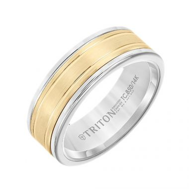 Triton Two Tone Tungsten Carbide Wedding Band