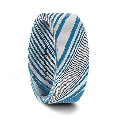 Thorsten DUKE Blue Flat Brushed Damascus Steel Men's Wedding Band with A Vivid Etched Design- 6mm & 8mm
