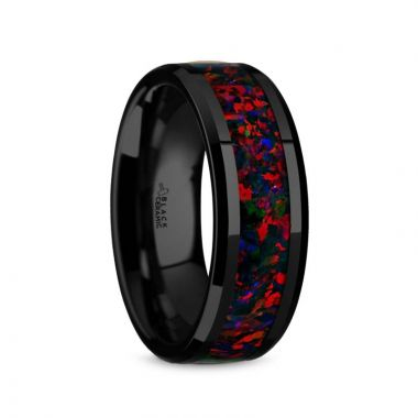 Thorsten MATRIX Black Ceramic Polished Beveled Edges Men's Domed Wedding Band with Black Opal Inlay - 8mm