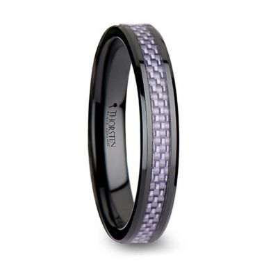 Thorsten LILAC Beveled Black Ceramic Ring with Purple Carbon Fiber Inlay - 4mm & 6mm