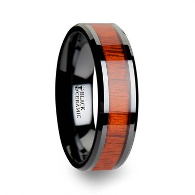 Thorsten BOSULU Black Ceramic Wood Ring with Polished Bevels and Padauk Real Wood Inlay - 6 mm - 10 mm