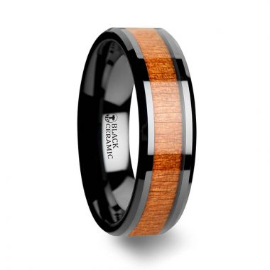 Thorsten IOWA Black Ceramic Wedding Ring with Polished Bevels and Black Cherry Wood Inlay - 6 mm - 10 mm