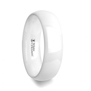 Thorsten IVORY Domed Polish Finished White Ceramic Ring - 6mm & 8mm
