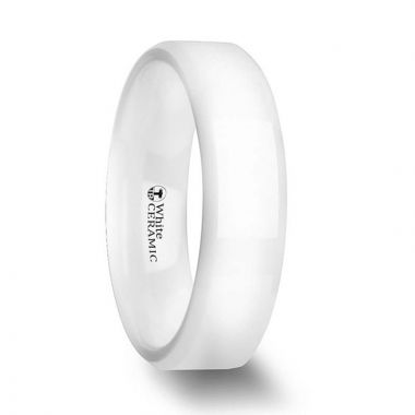 Thorsten GLACIER White Ceramic Wedding Band with Beveled Edges and Polished Finish - 6mm & 8mm