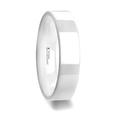 Thorsten LUCENT Flat Polish Finished White Ceramic Wedding Ring - 6mm & 8mm