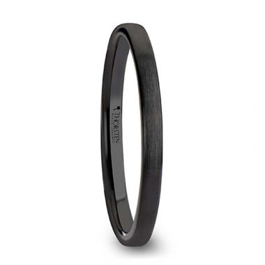 Thorsten DAISY Black Flat Shaped Ceramic Wedding Band for Women with Brushed Finish - 2 mm