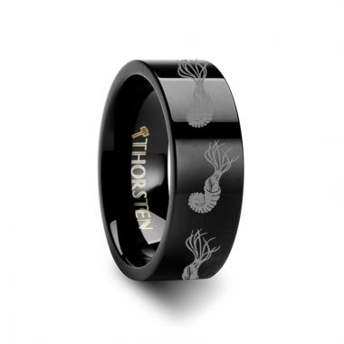Thorsten Dinosaur Ammonite Ring Prehistoric Paleo Engraved Flat Black Tungsten Ring - 4mm - 12mm