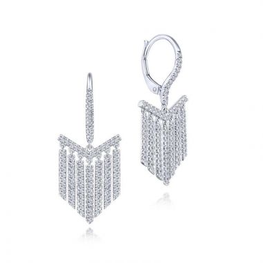 Gabriel & Co. 14k White Gold Art Moderne Diamond Drop Earrings