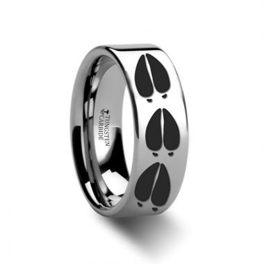 Thorsten Animal Deer Track Print Ring Engraved Flat Tungsten Ring - 4mm - 12mm