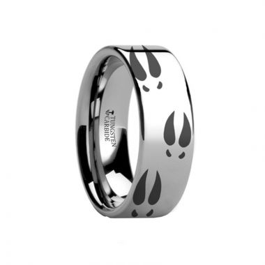 Thorsten Deer Print Animal Track Ring Engraved Flat Tungsten Ring - 4mm - 12mm