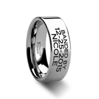 Thorsten Duck Band Style Custom Engraved Ring Flat Polished- 4mm - 12mm