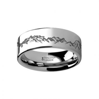 Thorsten Peaks Mountain Range Outdoors Ring Engraved Flat Tungsten Ring - 4mm - 12mm