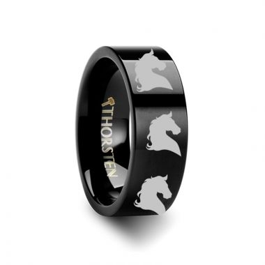 Thorsten Animal Horse Head Print Ring Engraved Flat Black Tungsten Ring - 4mm - 12mm