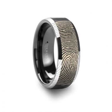 Thorsten Fingerprint Engraved Flat Black Tungsten Ring with Brushed Finish with Polished Beveled Edges - 4mm - 10mm