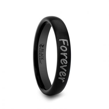 Thorsten Handwritten Engraved Domed Black Tungsten Ring with Brushed Finish - 4mm - 12mm
