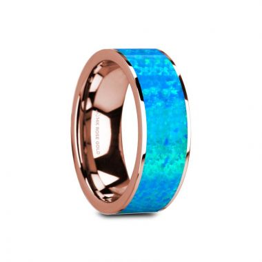 Thorsten GAGE Flat Polished 14K Rose Gold with Blue Opal Inlay - 8mm