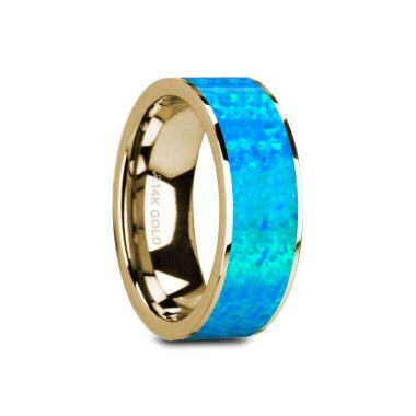Thorsten GANYMEDE Flat Polished 14K Yellow Gold with Blue Opal Inlay - 8mm