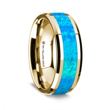 Thorsten 14k Yellow Gold Polished Beveled Edges Wedding Ring with Blue Opal Inlay - 8 mm