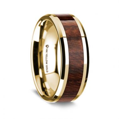 Thorsten 14K Yellow Gold Polished Beveled Edges Wedding Ring with Carpathian Wood Inlay - 8 mm