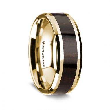 Thorsten 14K Yellow Gold Polished Beveled Edges Wedding Ring with Ebony Wood Inlay - 8 mm