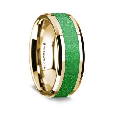 Thorsten 14k Yellow Gold Polished Beveled Edges Wedding Ring with Sparkling Green Inlay - 8 mm