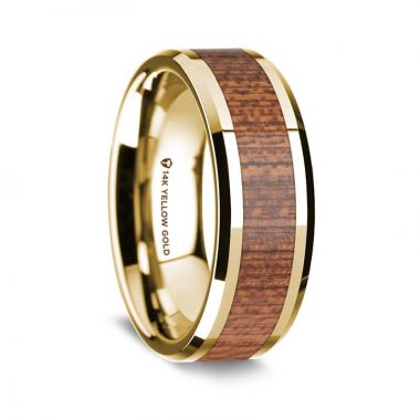 Thorsten Polished Beveled Edges 14K Yellow Gold Men's Wedding Band with Cherry Wood Inlay - 8 mm