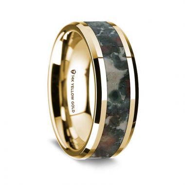 Thorsten 14K Yellow Gold Polished Beveled Edges Wedding Ring with Coprolite Inlay - 8 mm