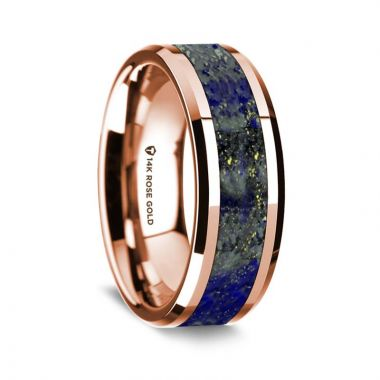Thorsten 14k Rose Gold Polished Beveled Edges Wedding Ring with Lapis Inlay - 8 mm