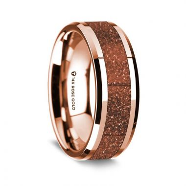 Thorsten 14K Rose Gold Polished Beveled Edges Wedding Ring with Orange Goldstone Inlay - 8 mm