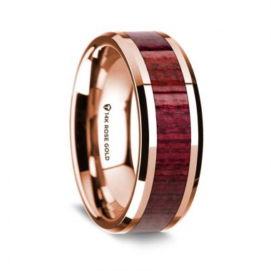 Thorsten 14K Rose Gold Polished Beveled Edges Wedding Ring with Purple Heart Wood Inlay - 8 mm
