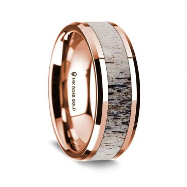 Thorsten 14K Rose Gold Polished Beveled Edges Wedding Ring with Ombre Deer Antler Inlay - 8 mm