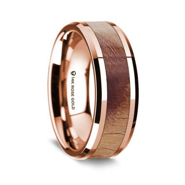 Thorsten 14K Rose Gold Polished Beveled Edges Men's Wedding Band with Olive Wood Inlay - 8 mm
