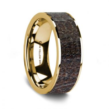Thorsten Flat Polished 14K Yellow Gold Wedding Ring with Dark Deer Antler Inlay - 8 mm