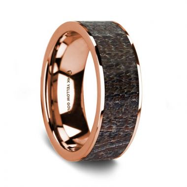 Thorsten Flat Polished 14K Rose Gold Wedding Ring with Dark Deer Antler Inlay - 8 mm