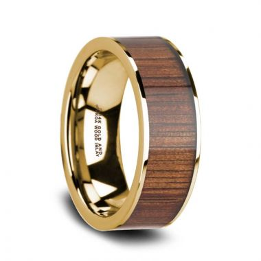 Thorsten AURELIAN 14K Pipe Cut Yellow Gold Ring Wedding Band with Rare Koa Wood Inlay and Polished Edges - 8mm