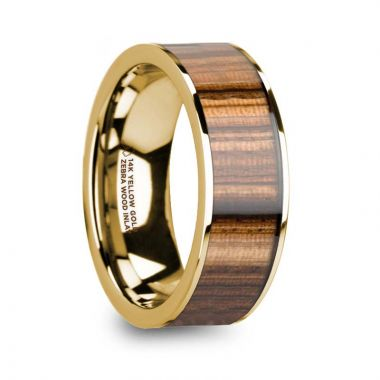 Thorsten AEGIS 14K Yellow Gold Polished Wedding Band with Zebra Wood Inlay - 8mm