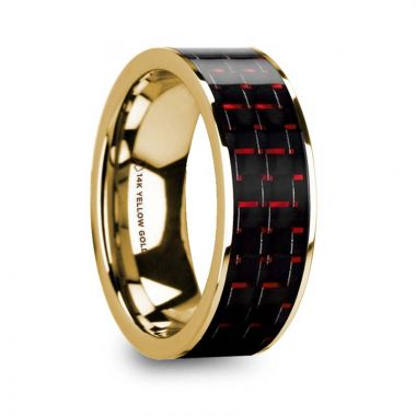 Thorsten COSTA Black & Red Carbon Fiber Inlaid 14k Yellow Gold Wedding Band with Polished Finish - 8mm