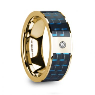 Thorsten CLETUS Polished 14k Yellow Gold & Black/Blue Carbon Fiber Men's Wedding Band with Diamond - 8mm