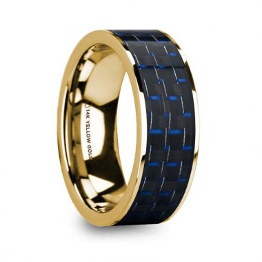 Thorsten GREGOR Men's Polished 14k Yellow Gold Flat Wedding Ring with Blue & Black Carbon Fiber Inlay - 8mm