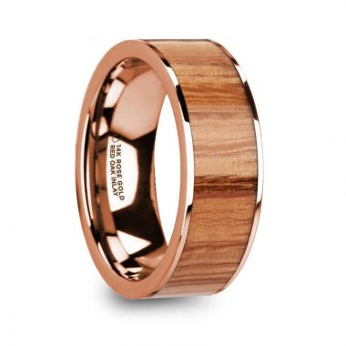 Thorsten MILOS Polished Flat 14k Rose Gold Men's Wedding Ring with Red Oak Wood Inlay - 8mm