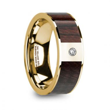 Thorsten TARAS Bubinga Wood Inlaid 14k Yellow Gold Men's Ring with Diamond Center & Polished Finish - 8mm